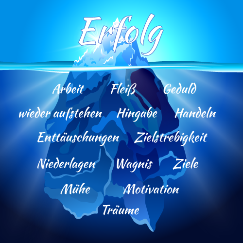 Eisberg als Synonym für die unsichtbare Arbeit hinter dem Erfolg